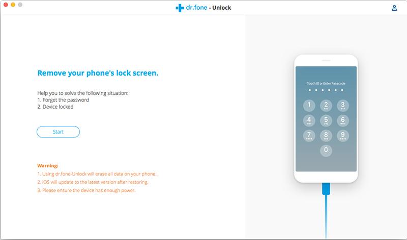 iniciar para remover a tela de bloqueio do iphone