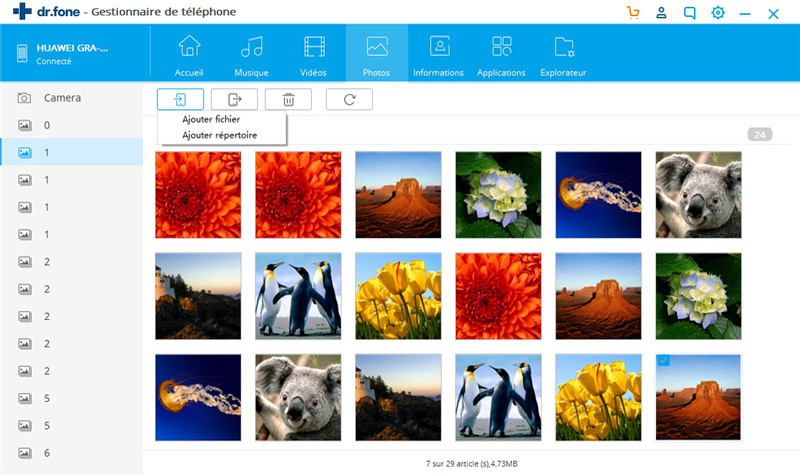 transférer des photos de l'ordinateur vers Android