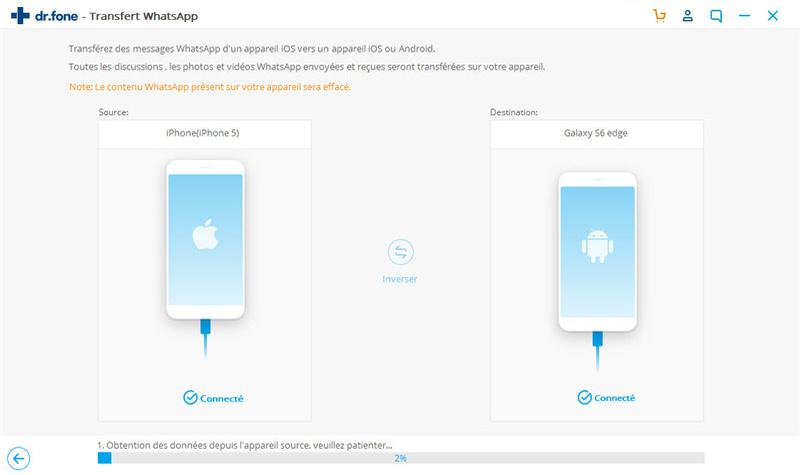 transférer des messages whatsapp d'iphone vers samsung