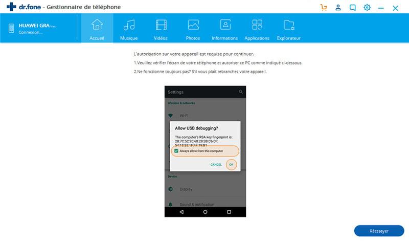 autoriser le débogage USB sur votre appareil Android