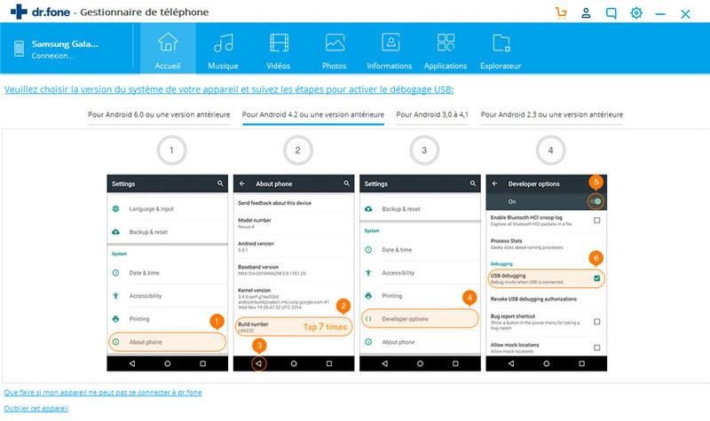 activer le débogage USB sur Android 4.2-5.1