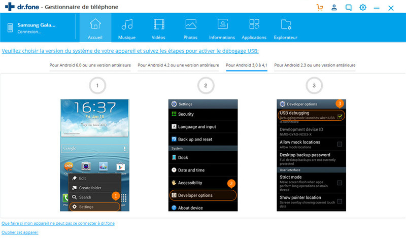 activer le débogage USB sur Android 3.0-4.1
