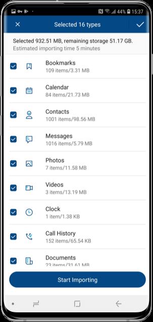 Von der Telefonwechsel-App unterstützte Dateien